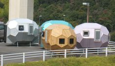 geodesic pod homes, aichii japan, 2005