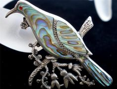 Sterling Silver Bird Inlay Natural Abalone Shell Figural Vintage C Clasp Brooch   eBay