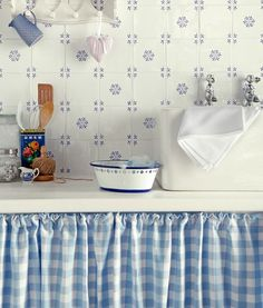 Blue and white cottage kitchen with pretty snowflake tiles and gingham cabinet skirt Decor, Blue Kitchens, Interior, White Cottage, Vintage Kitchen, Topps Tiles, Blue Interior, Blue And White, Shabby Chic Kitchen