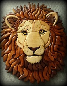 Wooden lion sculpture Intarsia lion by WoodWondersByJerry Wooden Art, Wooden Crafts, Wooden Projects, Intarsia Wood Patterns, Wood Mosaic, Intarsia Woodworking, Scroll Saw Patterns, Wood Sculpture, Wood Design