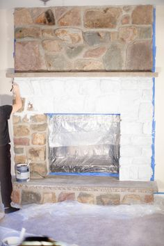 Fantastic Screen Stone Fireplace makeover Ideas Terrific Free whitewash Stone Fireplace Thoughts Whitewash Stone Fireplace Awesome How to Whitewas Whitewash Stone Fireplace, Stone Fireplace Makeover, Paint Fireplace, Home Fireplace, Fireplace Remodel, Fireplace Design, Fireplace Mantels, Fireplace Ideas, Fireplace Seating