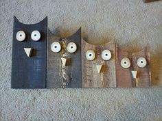 Crafts Pallets It is nice Scrap Wood Crafts, Owl Crafts, Wooden Crafts, Small Wood Projects, Scrap Wood Projects, Craft Projects, Wooden Art, Wood Wall Art, Pallet Projects Christmas
