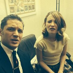 Tom Hardy and Emily Browning - Legend (their faces just say 'wut?')