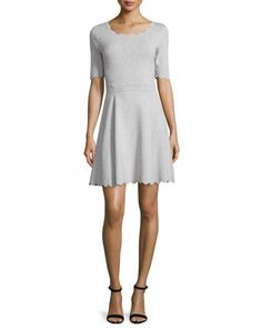 TC9QP Milly Scalloped Ballet Fit & Flare Dress, Heather Gray