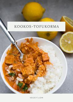 Kookos-tofukorma - Vege it! Vegetarian Lifestyle, Vegan Vegetarian, Vegetarian Recipes, Healthy Recipes, Tasty, Yummy Food, Food Goals, I Love Food, Tofu