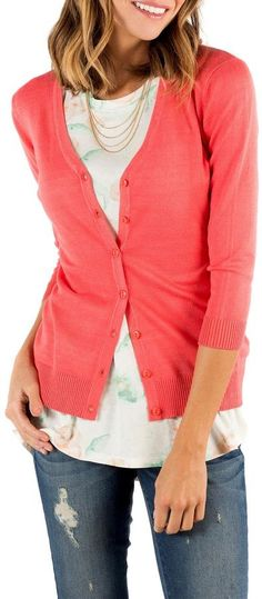 Downeast Basics V Neck Cardigan
