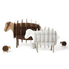 sheep bookshelve paper