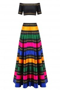 Black, Yellow, Green, Blue and Hot Pink Stripes and Floral Work Lehenga Set…