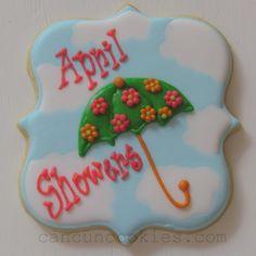 April showers plaque sugar cookies.