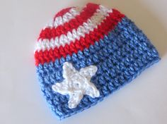 Patriotic Crochet Baby Beanie Hat for 4th of July Independence Day or Memorial Day - boy or girl - baby infant or toddler sizes - stars and stripes red white and blue American Flag photo photography prop - by CrochetToZ on Etsy