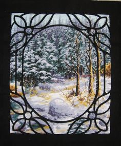 Nouveau Winter quilt by Susan Purney Mark looking thru a window