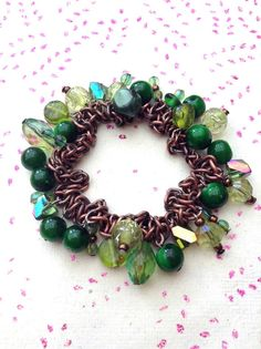 Green chain stretchy glass beaded handmade elasticated