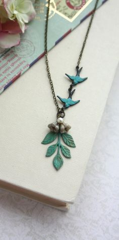 Verdigris Teal Green,Teal Blue Green Leaf Sprig Necklace. Flying Verdigris Teal Swallow Bird Necklace, Sis, BFF, Daughter, Bridesmaids Gifts By Marolsha.