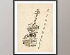 Violin Old Sheet Music Collage, Violin Poster, Art Print (2832)