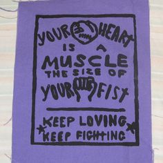 Your Heart is a Muscle the Size of Your Fist - Large Back or Bag Patch - Black on Purple Canvas - Plum Lavender punk patches print