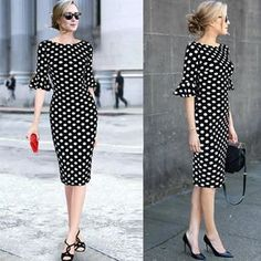 Vfemage Women Elegant Flare Trumpet Bell Sleeve Polka Dot Print Vintage Pinup Ca. - - Vfemage Women Elegant Flare Trumpet Bell Sleeve Polka Dot Print Vintage Pinup Casual Work Office Party Bodycon Sheath Dress 7692 2019 New Collection M. Modest Dresses, Simple Dresses, Elegant Dresses, Vintage Dresses, Casual Dresses, Dresses For Work, Summer Dresses, Most Beautiful Dresses, Plus Size Dresses