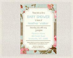 Baby Shower Invitation Blue Pink Burlap Shabby by PixieBabyShower