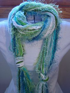 Handwoven Artsy Yarn Knot Scarf Lime Green by PineLakeHobbies
