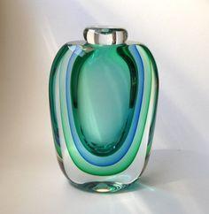 1980s Triple Sommerso Murano Glass Vase by Luigi by mascarajones