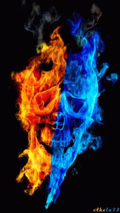 Red-orange and blue flaming Skull