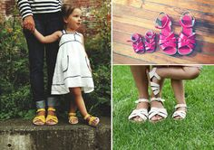 I love, love, love the idea of matching sandals. Sigh. Hurry up, little girl, and start pulling up, so we can get your wee feet fitted!