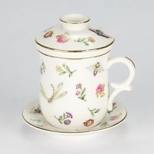Tea Mug 4 piece Cover Strainer Saucer Cup Butterfly rose Shabby Chic Porcelain
