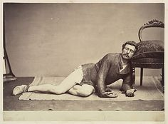 """Swiss photographer, Adrien Constant de Rebecque (Lausanne 1806–1876). """"Man in Chainmail Tunic Posing as a Dying Soldier""""."""