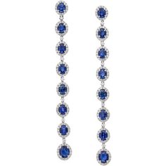 Stunning Blue Sapphire Diamond Gold Drop Earrings (1194370 ALL) ❤ liked on Polyvore featuring jewelry, earrings, blue, long gold earrings, blue diamond earrings, diamond earrings, blue drop earrings and yellow gold diamond earrings