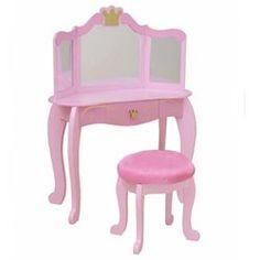 Kids Bed Rooms: Wooden Pink Princess Bedroom Vanity Set by KidKraft. Wooden-Pink-Princess-Bedroom-Vanity-Set-by-KidKraft. Girls Bedroom Furniture, Kids Furniture, Kids Bedroom, Bedroom Ideas, Room Kids, Bed Ideas, Bedroom Vanity Set, Bedroom Vanities, Smart Tiles