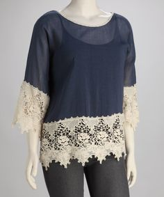 Navy Lace Plus-Size Top by UMGEE U.S.A. on #zulily today!    I think this need to be mine ASAP!  $25