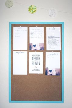 workspace | Inspired to Share - to do list, projects, ideas bulletin board.  simple with blue washi tape around edges