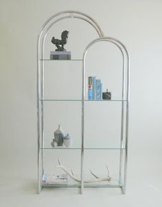 Gorgeous Mid Century Chrome & Glass Milo Baughman Style Arched Etagere -Tubular Chrome Double Arch Vintage 70s Free Standing Bar / Bookshelf by VintageandMain
