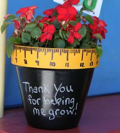 This thoughtful decorative flower pot gift will be a hit with your childs teacher.