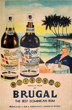 Brugal Rum Advertisment from the Samana, Brugal Rum, Dominican Rum, Vintage Cuba, Whisky, Art Deco, Tropical Art, Vintage Travel Posters, Dominican Republic
