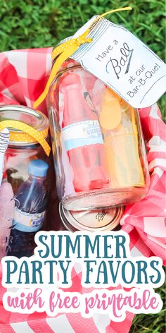 Make these summer party favors for the guests at your BBQ! Cute printable tags to add to mason jars then fill with a ton of goodies! #summerparty #summer #bbq Printable Tags, Free Printables, Summer Party Favors, Bbq Party, Summer Bbq, Mason Jars, Fill, Goodies, Ads