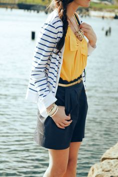 striped cardigan. bright yellow. scalloped skirt.