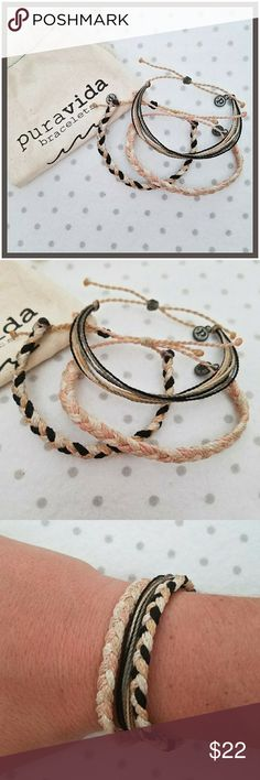 3 Pure Vida Adjustable Bracelets Set of 3 new Pure Vida Bracelets. These bracelets are 100% Waterproof. Each bracelet is handmade in Costa Rica.  They each expand up to 11 in. around. Perfect everyday bracelets. Pure Vida Jewelry Bracelets