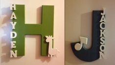 cute name wall art for children - just paint large wooden letter and hot glue smaller letters to spell out name with an appropriate wooden decoration like a giraffe or musical depending on your child's interests.