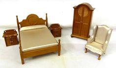 Dolls House Miniature 1:12 Scale Wooden Warm Walnut Double Bedroom Furniture Set - Melody Jane Dolls Houses Ltd