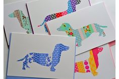 Washi tape card - sausage dog by Su Wolf Diy Washi Tape Bookmarks, Washi Tape Cards, Washi Tape Diy, Masking Tape, Washi Tapes, Dog Cards Handmade, Paper Fish, Dog Quilts, Some Cards