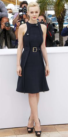 Carey Mulligan at Cannes in a belted Chloé LBD and sky-high Louboutins.  |  InStyle.com