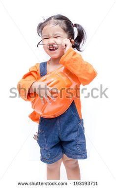 Smile Asian Engineer baby girl  on white background - stock photo