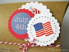 SRM Stickers Blog - Patriotic Pillow Box by Shelly - #kraft #pillowbox #4thofJuly #patriotic #twine #stickers #punchedpieces Kraft Boxes, Pillow Box, Twine, 4th Of July, Coasters, Stickers, Blog, Drink Coasters, Sticker