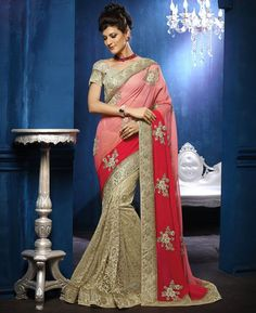 Buy Enticing Red & Pink & Brown Georgette Sarees online at  https://www.a1designerwear.com/enticing-red-pink-brown-georgette-sarees  Price: $95.59 USD