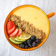 Mango Lime Smoothie Bowl Recipe Breakfast and Brunch, Beverages with frozen mango, kefir, lime, honey, granola, fruit