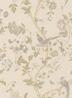 Summer Palace Taupe/ Ivory (3519608) - Laura Ashley Wallpapers - A hand painted effect design featuring a trailing floral print with bird and rose motif. Please request sample for true colour match.