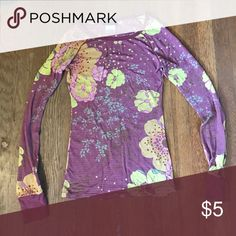 Long sleeve floral shirt Long sleeve, purple shirt with yellow flowers, lightly used, great condition Nordstrom Tops Tees - Long Sleeve