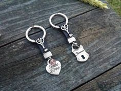 Couples Keychains, Girlfriend Boyfriend Keychain, Wife Husband Keychain, Valentines Day Gifts, True Love Forever, Heart Padlock Key