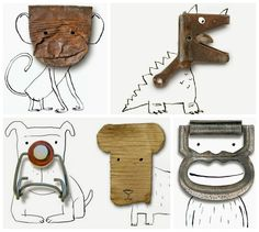 Found Objects Turner Into Illustrations by Roger Chouinard #FoundObjects, #Illustration