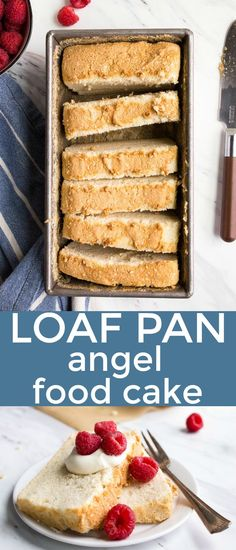 Mini Angel Food Cake in a Loaf Pan. Small angel food cake for one or two people made in a bread loaf pan that makes 8 slices. Small batch angel food cake is a great dessert using leftover egg whites! Perfect as a Spring dessert or Mother's Day dessert. Gluten Free Angel Food Cake, Angel Food Cake Desserts, Angle Food Cake Recipes, Great Desserts, Köstliche Desserts, Easy Cake Recipes, Baking Recipes, Delicious Desserts, Dessert Recipes